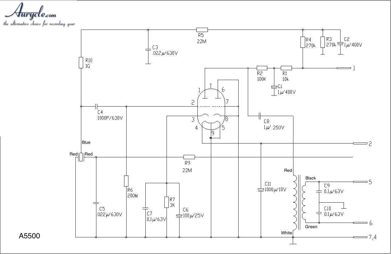 diy vacuum tube condenser microphone kit schematics version 1 circuit layout