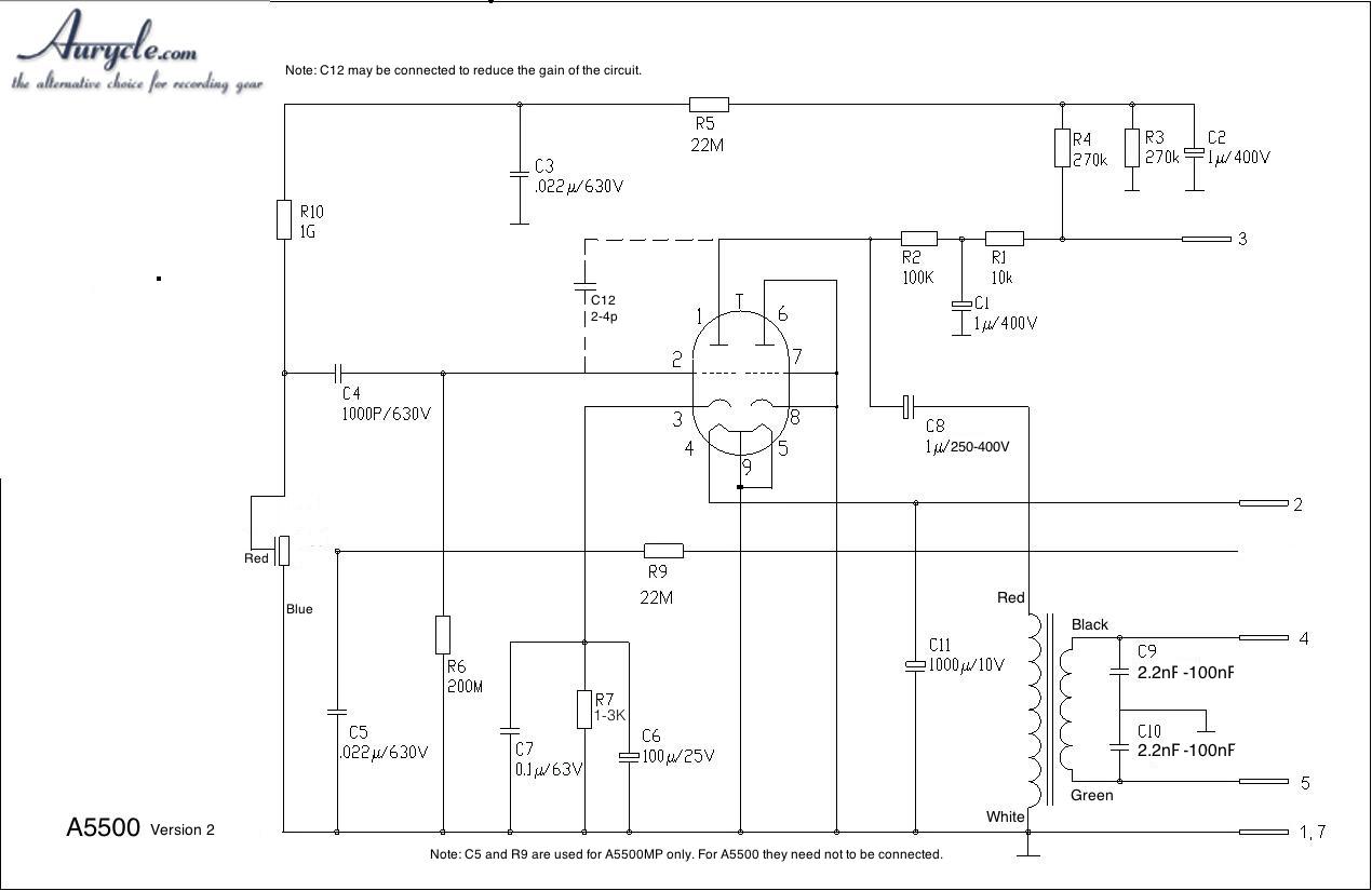DIY Vacuum Tube Condenser Microphone Kit | Tube Mic Wiring Diagram |  | Aurycle.com