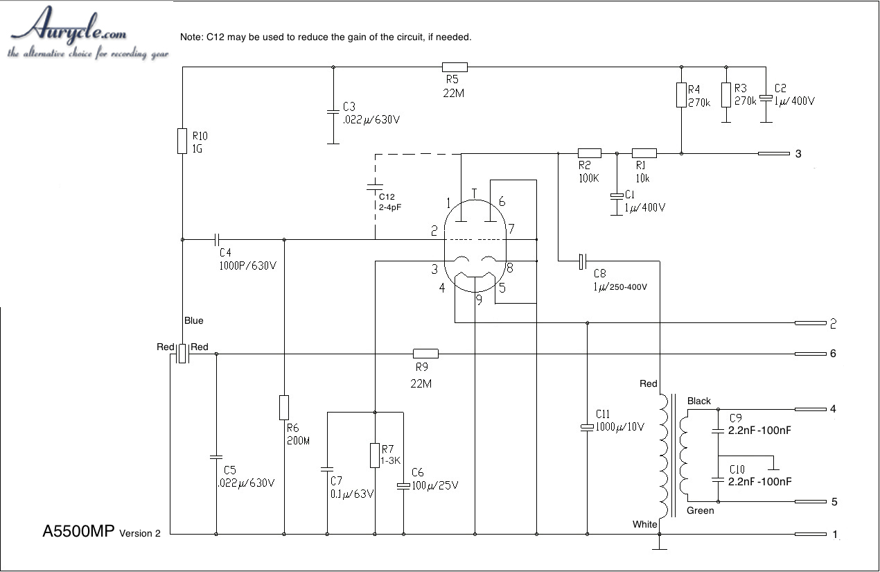 diy vacuum tube condenser microphone kit rh aurycle com Wiring Diagram for CB Mics 5 Pin Cobrs 148 Midland Microphone Wiring Diagram